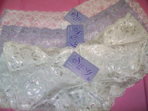 Susy lace boyshorts white lavender ivory