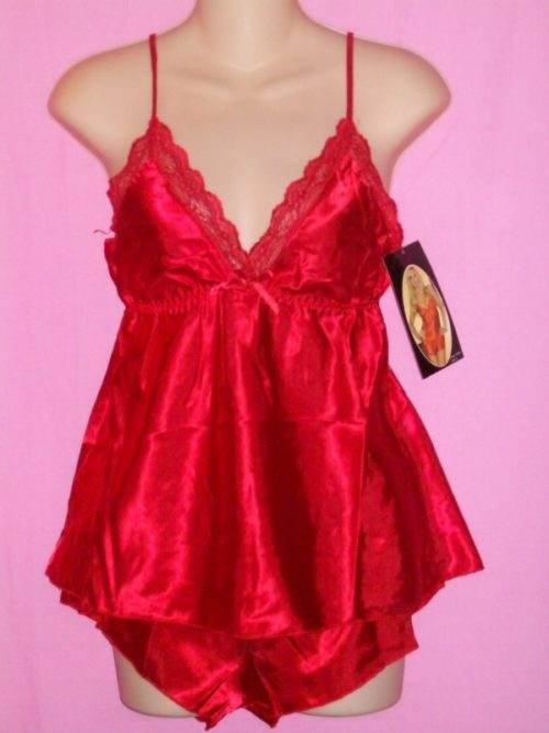 Seven Til Midnight Satin Lace Cami Sleepwear Red