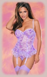 Faris Lingerie Sexy Rose Print Mesh Bustier and G-String Set