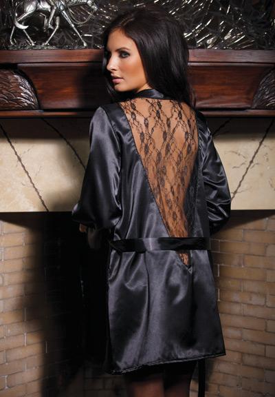Coquette Satin Lace Robe cq8007 back