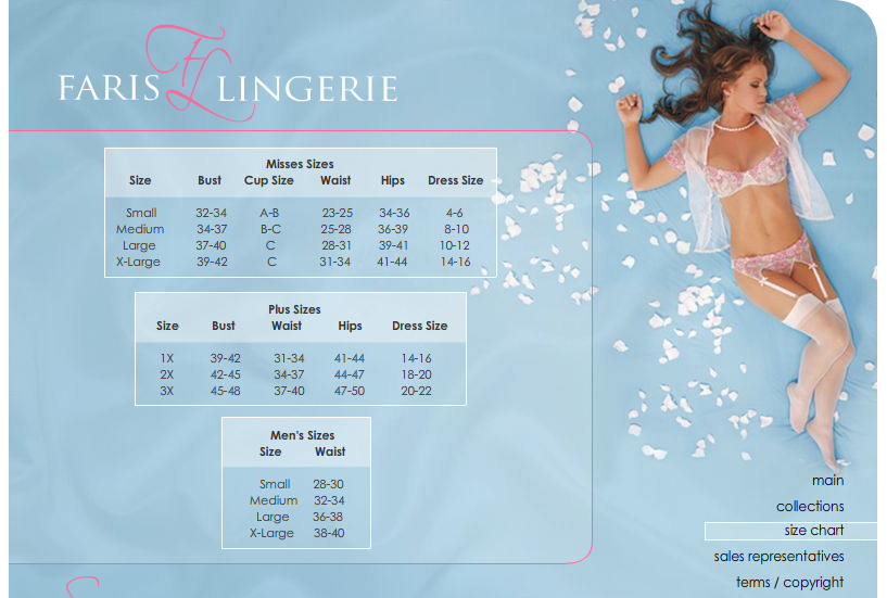 Naughty and Nice Lingerie Faris lingerie size chart