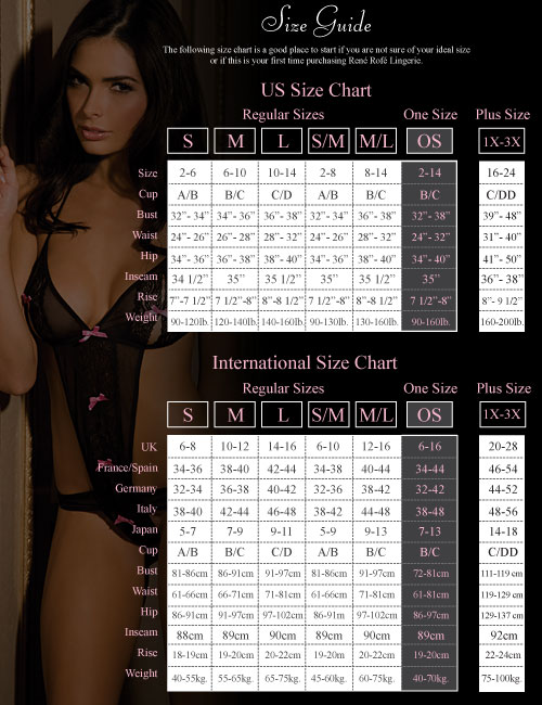 Naughty and Nice Lingerie Rene Rofe lingerie size chart