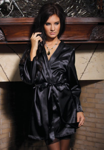 Coquette Lingerie Black Satin Robe with Shawl Collar, Sash and Rear Lace Detail