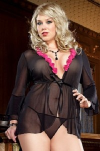 Dreamgirl Lingerie Sexy Plus Size Seductive Robe and Thong Set