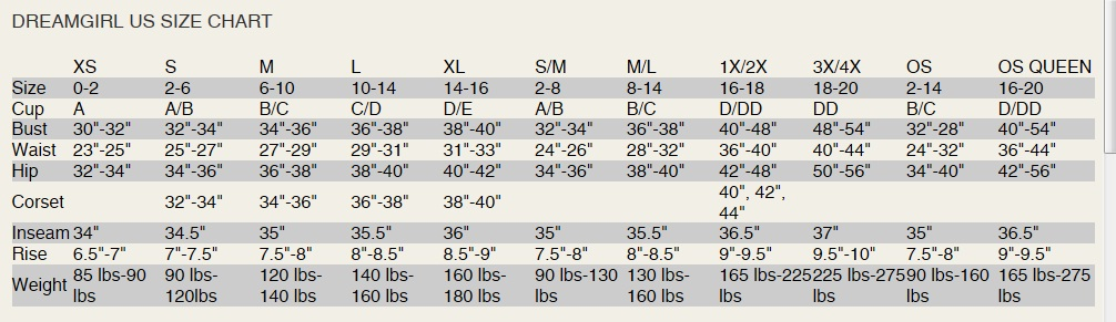Naughty and Nice Lingerie Dreamgirl lingerie size chart