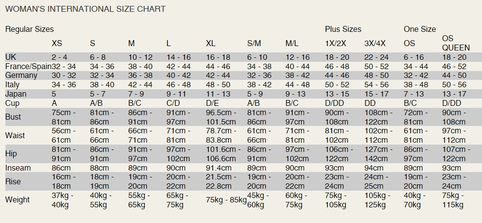 Naughty and Nice Lingerie UK Dreamgirl lingerie size chart