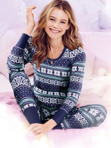 Victoria's Secret Lingerie The Fireside Thermal Cotton Long Jane PJ Set