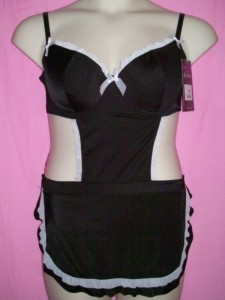 Miss Behavin Maid with Love Plus Size Lingerie Microfiber Apron Lingerie Costume