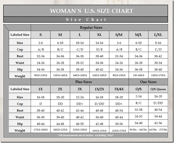 Naughty and Nice Lingerie Escante lingerie size chart
