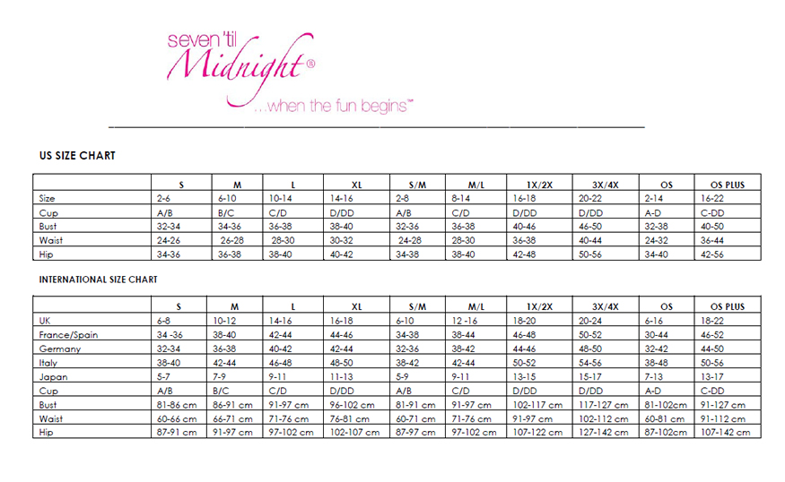 Naughty and Nice Lingerie Seven Til Midnight lingerie size chart