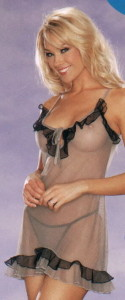 Faris Lingerie Ruffled Powermesh Chemise and Thong Set