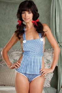 Dreamgirl Lingerie Sexy Down and Dirty Dorothy Apron Babydoll and Ruffle Panty Set