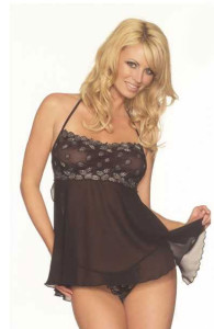 Fantasy Lingerie Sexy Lace and Chiffon Babydoll and G-String Set