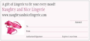 Naughty and Nice Lingerie Gift Card