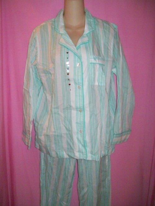 Victorias_Secret_Mayfair_Sleepwear_Pajamas_Green_Stripes