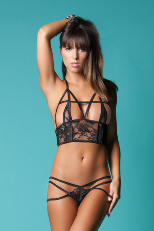 Hauty Femme'd Cut Out Lace Triangle Cup Bralette Set 2045-BLAC-F