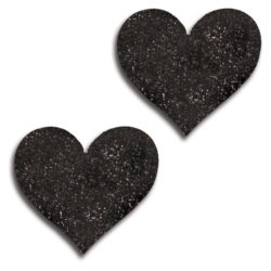 Glitter Lingerie Black Glitter Heart Pasties 31517-BLAC-F