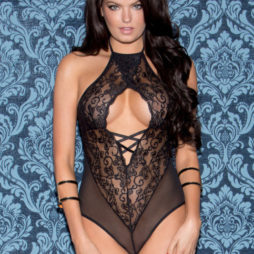Lace and Mesh Halter Teddy 35019-BLAC-F