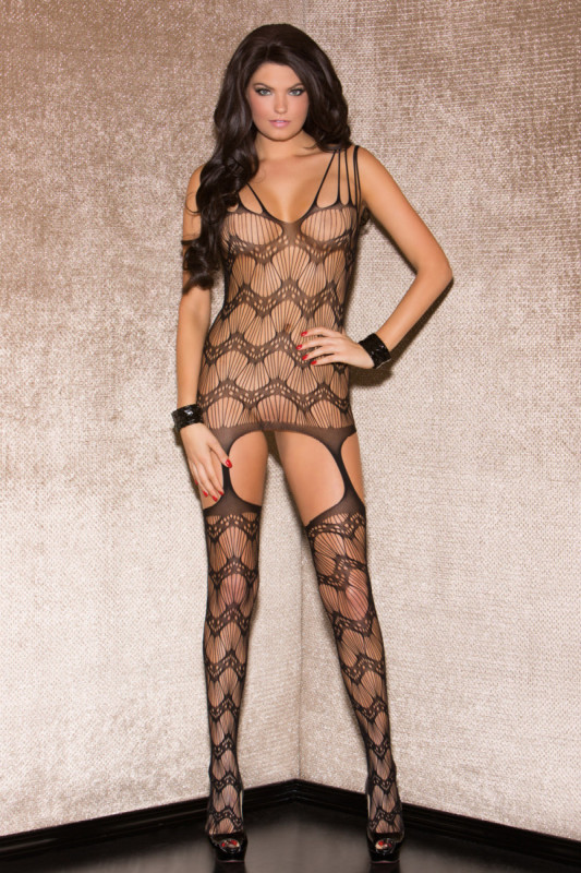 Glitter Shredded Wave Bodystocking 37518-BLAC-F