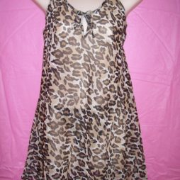 sheer animal print chiffon chemise
