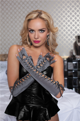 Elbow Length Lace Up Gloves STM40118 Grey