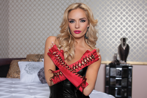 Elbow Length Lace Up Gloves STM40118 Red