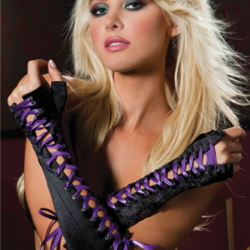 Elbow Length Lace-Up Gloves STM40114 Purple