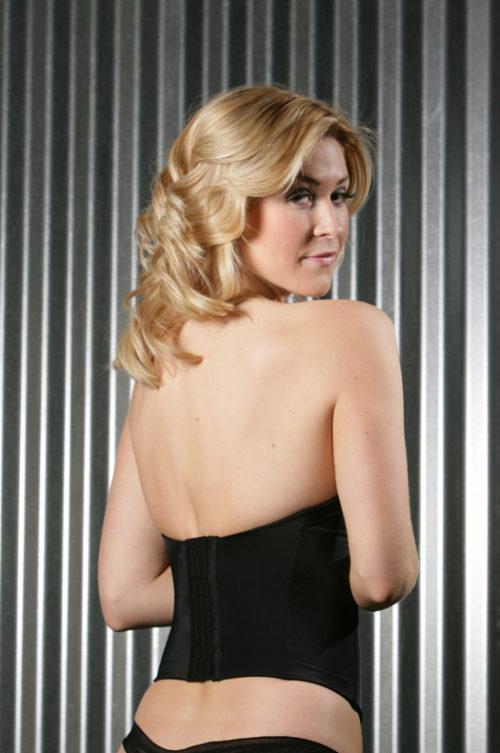 elegant longline bustier black back