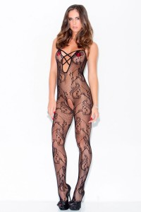 Hauty Flowers and Swirls Crotchless Bodystocking