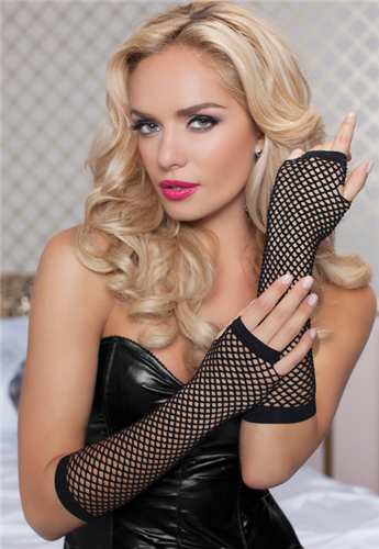 Seven 'Til Midnight Elbow Fishnet Gloves
