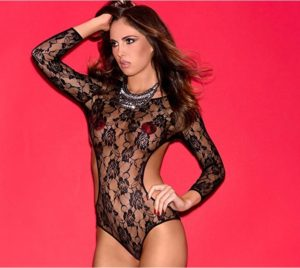 Hauty Lingerie Long Sleeve Rocking Rose Teddy