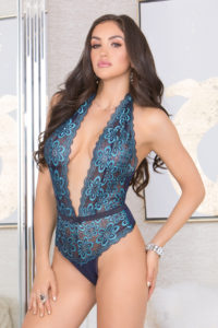 iCollection Lingerie All Lace Blue Bombshell Teddy