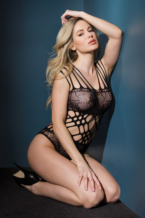 Strappy Seamless Microfiber Lace Cutout Teddy 3