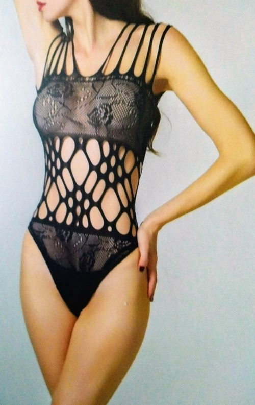 Strappy Seamless Microfiber Lace Cutout Teddy