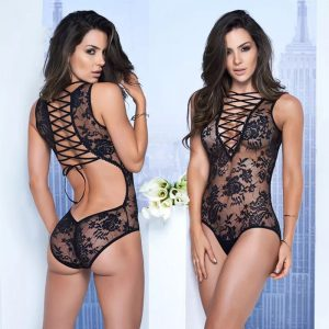 Naughty and Nice Lingerie Deep V Bandage Teddy